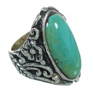 Turquoise And Genuine Sterling Silver Flower Ring Size 4-3/4 RX87405