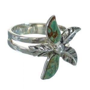 Genuine Sterling Silver Turquoise Flower Southwest Ring Size 5 RX88063