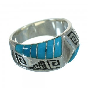Genuine Sterling Silver Turquoise Inlay Water Wave Ring Size 7-3/4 FX91783