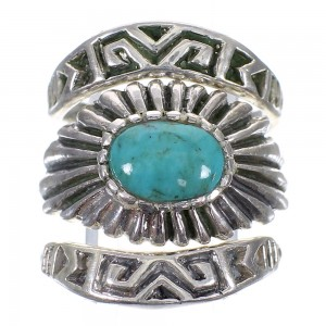 Turquoise Southwest Authentic Sterling Silver Stackable Ring Set Size 7-1/4 AX87337