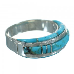 Turquoise Inlay Sterling Silver Jewelry Ring Size 6-3/4 FX91674