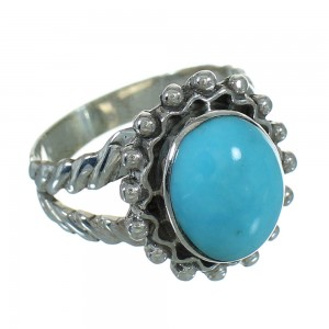 Southwest Genuine Sterling Silver Turquoise Ring Size 7-3/4 QX86019