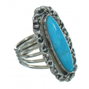 Southwestern Sterling Silver Turquoise Jewelry Ring Size 5-1/2 QX86070