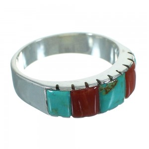 Coral And Turquoise Inlay Authentic Sterling Silver Ring Size 6-1/2 AX87574