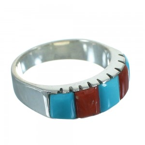 Turquoise And Coral Inlay Southwestern Sterling Silver Ring Size 8-1/4 AX87601