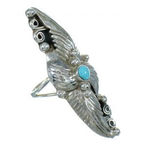 Turquoise And Genuine Sterling Silver Scalloped Leaf Ring Size 5-1/2 YX89526
