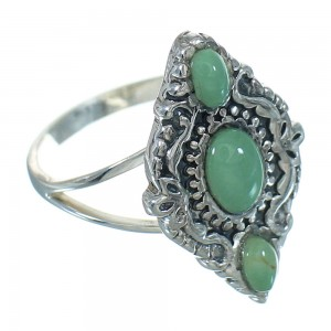 Southwest Turquoise Genuine Sterling Silver Ring Size 6-3/4 YX86603