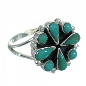 Turquoise And Genuine Sterling Silver Ring Size 7 YX86970