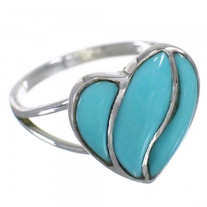 Turquoise Inlay Sterling Silver Heart Ring Size 5-3/4 RX86160