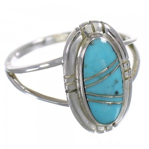 Genuine Sterling Silver Turquoise Inlay Jewelry Ring Size 5-1/2 RX86216