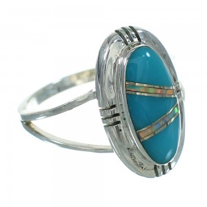 Sterling Silver Turquoise Opal Inlay Jewelry Ring Size 5-1/4 RX88565