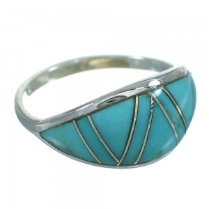 Genuine Sterling Silver Turquoise Ring Size 5-1/4 FX90729