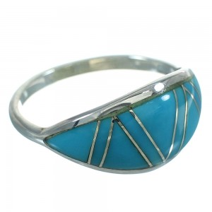 Genuine Sterling Silver Turquoise Southwest Jewelry Ring Size 5-3/4 FX90781