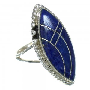 Silver Southwestern Lapis Ring Size 6 AX88111