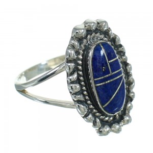Silver Southwest Lapis Ring Size 7-1/2 AX88153
