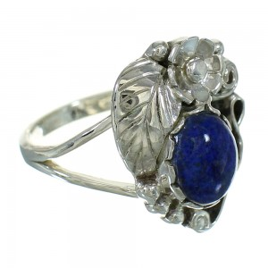 Lapis Sterling Silver Flower Southwestern Ring Size 7-1/4 AX88210