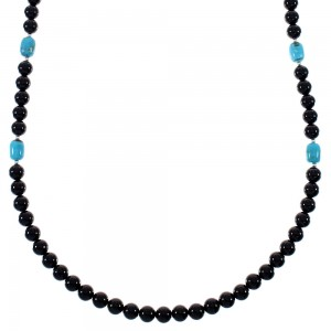 Sterling Silver Turquoise And Onyx Navajo Indian Bead Necklace RX85780