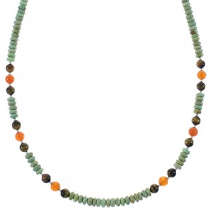 Native American Multicolor And Sterling Silver Bead Necklace RX85910