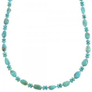 Kingman Turquoise Genuine Sterling Silver Navajo Bead Necklace RX88950