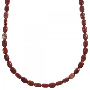 Southwest Poppy Jasper Silver Bead Necklace YX89360