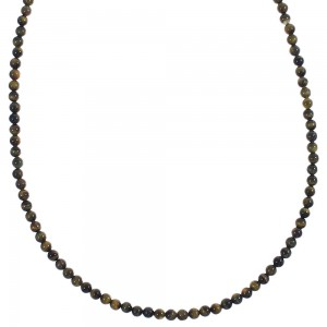Southwest Pietersite Silver Bead Necklace YX89414