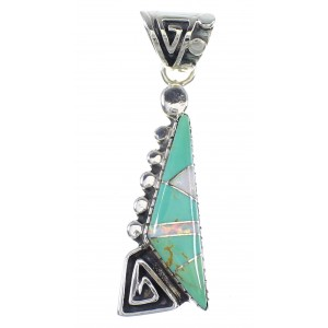 Southwestern Turquoise And Opal Water Wave Sterling Silver Pendant RX89443