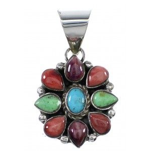 Multicolor Authentic Sterling Silver Southwest Pendant AX91061