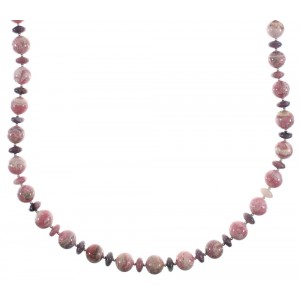 Navajo Rhodochrosite And Rhodonite Genuine Sterling Silver Bead Necklace AX91504