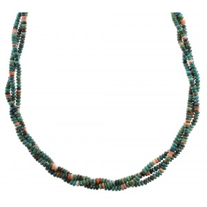 Native American Silver Turquoise And Oyster Shell 3-Strand Bead Necklace AX91542