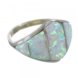 Opal Zuni Indian Genuine Sterling Silver Ring Size 6-3/4 YX91006