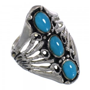 Turquoise Southwestern Silver Ring Size 6 QX87415