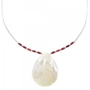 Liquid Sterling Silver Red Oyster Shell Mother Of Pearl Shell Necklace AX93737