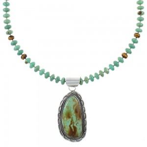 Kingman Turquoise And Tiger Eye Sterling Silver Navajo Bead Necklace Set AX93923