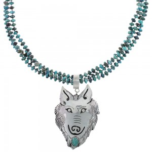 Turquoise Navajo Silver Tommy And Rose Singer Wolf Bead Necklace Set AX93991