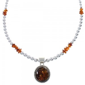 Amber Authentic Sterling Silver Navajo Bead Necklace Set AX94000