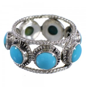 Southwest Turquoise Silver Ring Size 4 YX93984