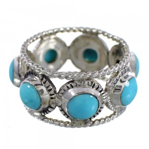 Turquoise Southwestern Authentic Sterling Silver Ring Size 4 YX94080