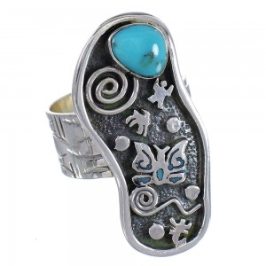 Sterling Silver Southwestern Turquoise Butterfly Water Wave Ring Size 6-3/4 RX94072