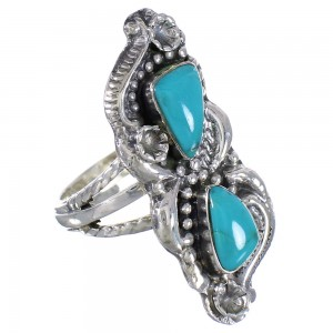 Southwest Turquoise Sterling Silver Ring Size 5-1/4 RX94117