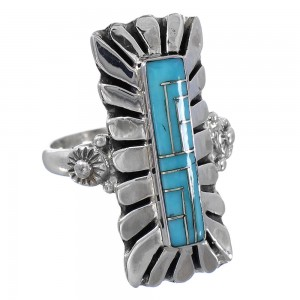 Genuine Sterling Silver Turquoise Inlay Ring Size 8 AX94087