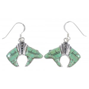 Southwestern Bear Jewelry Silver And Turquoise Inlay Earrings PX32373