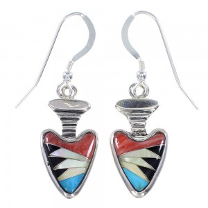 Southwest Silver And Multicolor Arrowhead Earrings EX32694