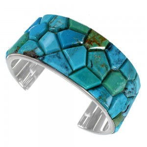 Sterling Silver Turquoise Inlay Southwest Cuff Bracelet FX27328