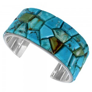 Turquoise Inlay Southwest Silver Cuff Bracelet FX27349