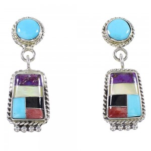 Southwestern Genuine Sterling Silver And Multicolor Earrings PS63241