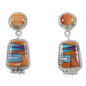 Multicolor Inlay Southwestern Sterling Silver Earrings PS63258