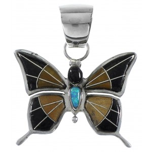 Multicolor Inlay Sterling Silver Butterfly Pendant MX21884