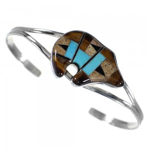 Sterling Silver Tiger Eye Multicolor Inlay Bear Cuff Bracelet RS41551