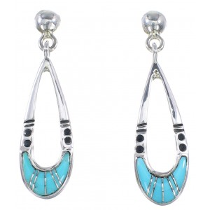 Sterling Silver Turquoise Inlay Southwest Post Dangle Earrings SX111072