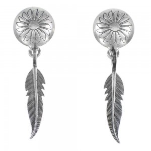 Genuine Sterling Silver Southwest Feather Post Dangle Earrings FX26037